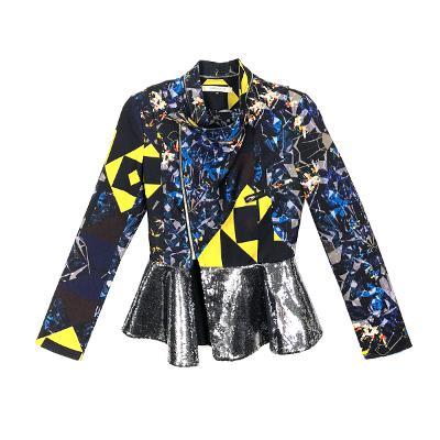 spangle peplum jacket blue